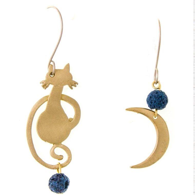 Σκουλαρίκια με σχέδιο γατάκι και μισοφέγγαρο και διακοσμητικές πέτρες