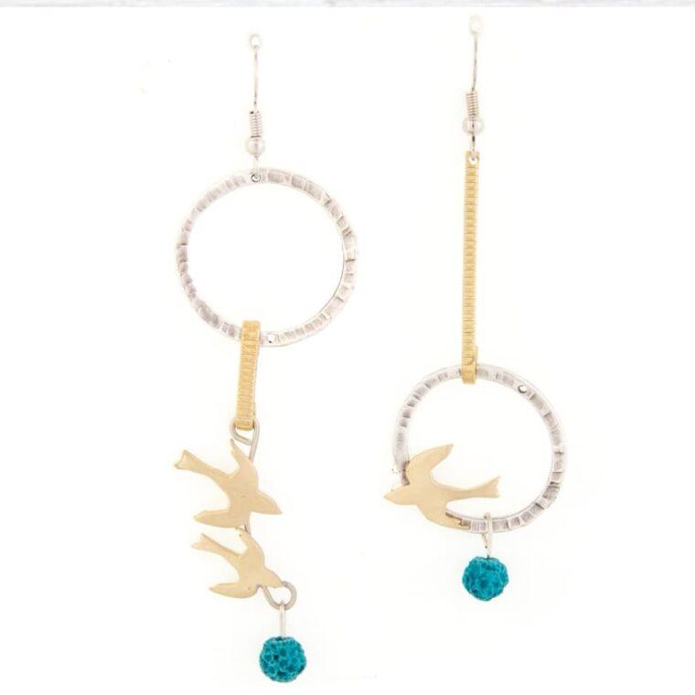 Σκουλαρίκια με σχέδιο πουλάκια,κρίκους και διακοσμητικές πέτρες