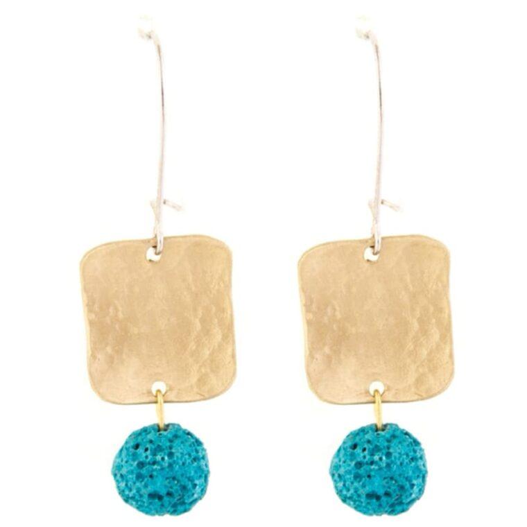 Σκουλαρίκια χρυσά με διακοσμητικές πέτρες σε διάφορα χρώματα