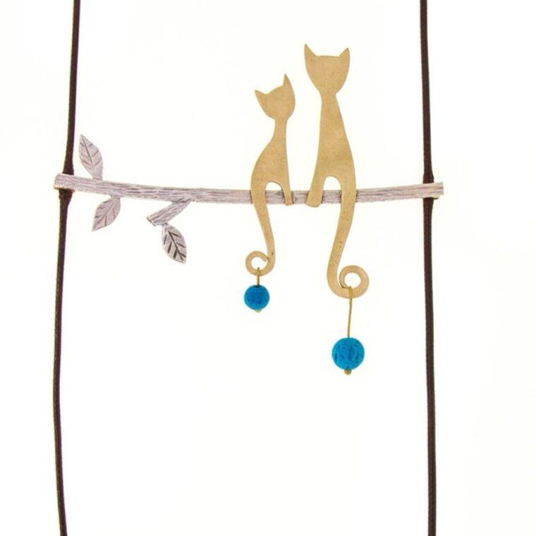 Κολιέ μακρύ με σχέδιο γατάκια και μπλε πέτρες