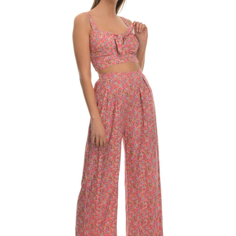 Σετ φλοράλ με τοπ και παντελόνα ροζ