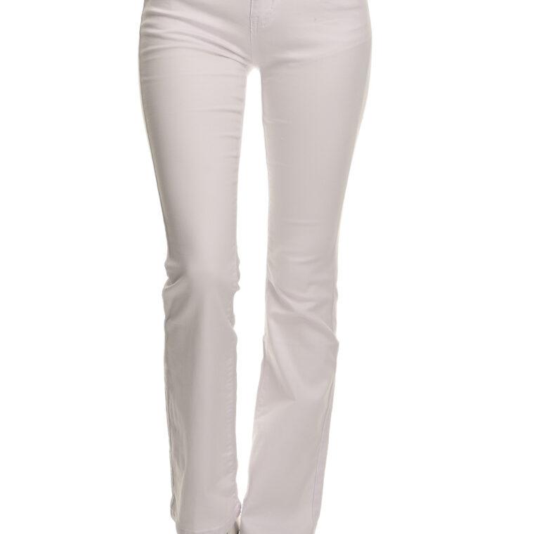 Άσπρο τζιν ελαστικό παντελόνι καμπάνα