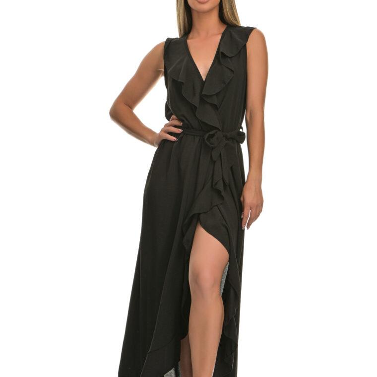 Φόρεμα μακρύ με βολάν και ζώνη μαύρο