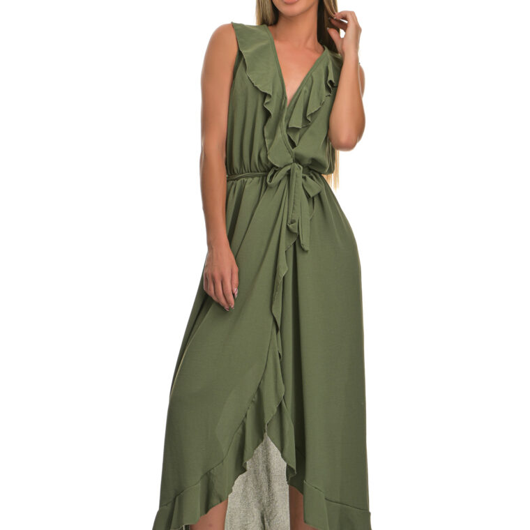 Φόρεμα μακρύ με βολάν και ζώνη χακί