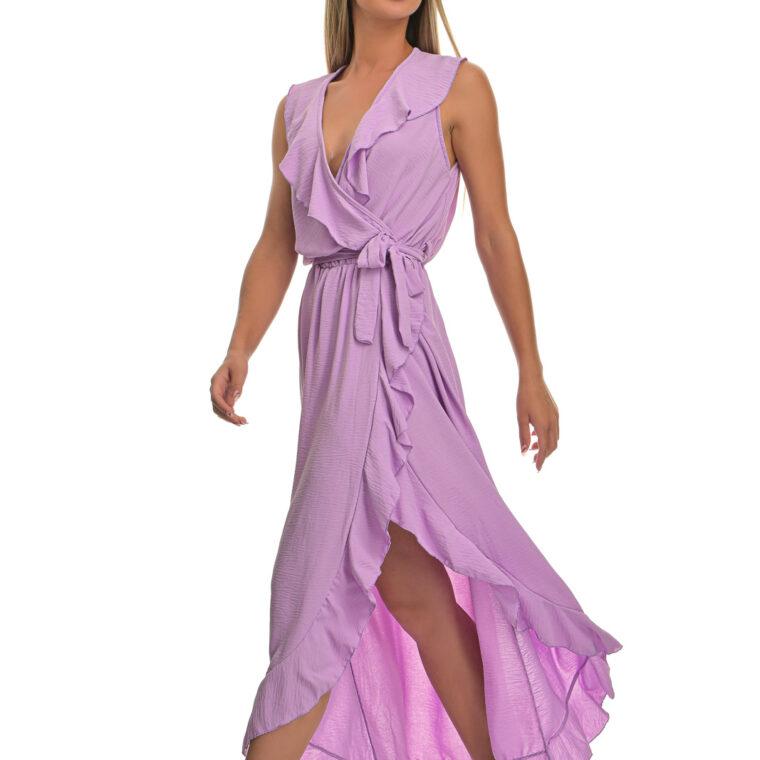 Φόρεμα μακρύ με βολάν και ζώνη λιλά