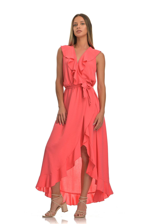 Φόρεμα μακρύ με βολάν και ζώνη κοραλλί