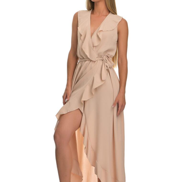 Φόρεμα μακρύ με βολάν και ζώνη μπεζ