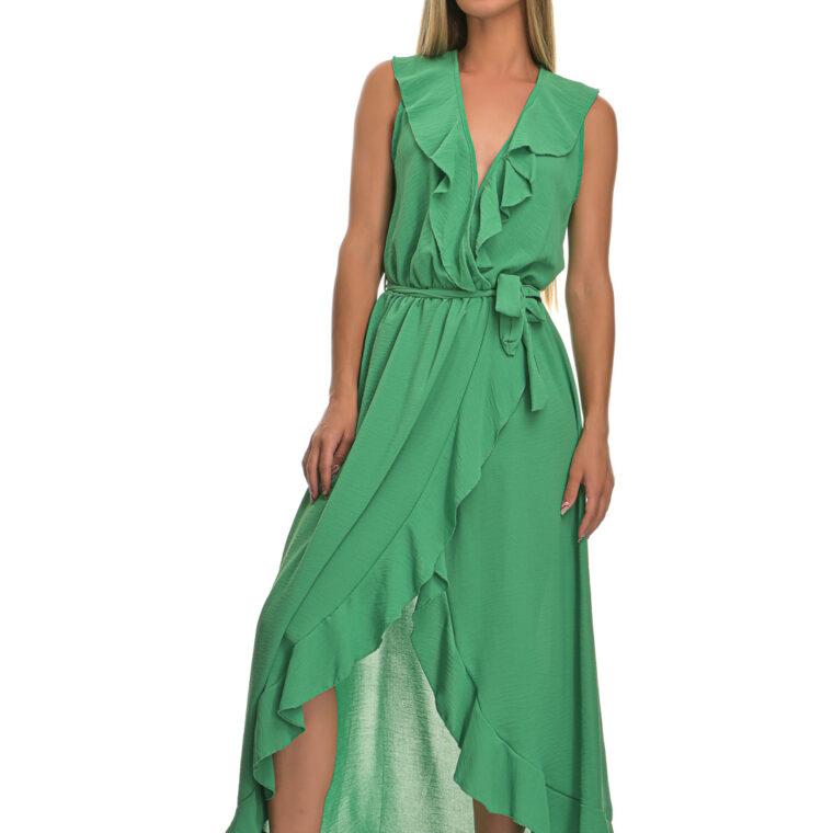 Φόρεμα μακρύ με βολάν και ζώνη πράσινο