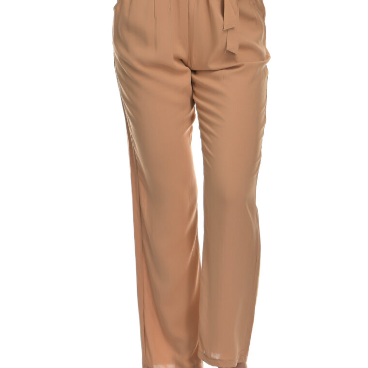 Παντελόνα βαμβακερή με ζώνη μπεζ