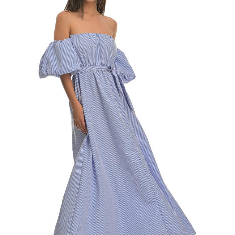 Φόρεμα μακρύ στράπλες ριγέ με φουσκωτά μανίκια και ζώνη γαλάζιο
