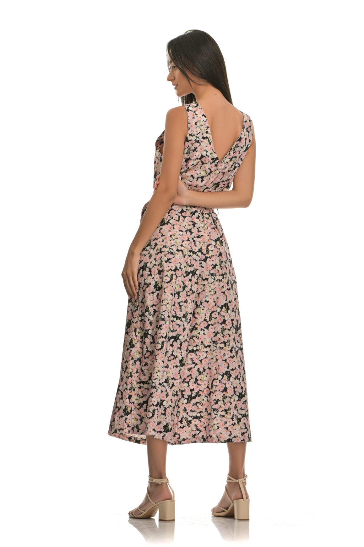 Ολόσωμη φόρμα με σχέδιο λουλούδια και ζώνη ροζ