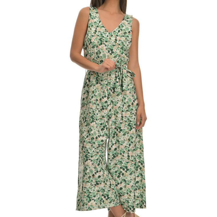 Ολόσωμη φόρμα με σχέδιο λουλούδια και ζώνη πράσινο