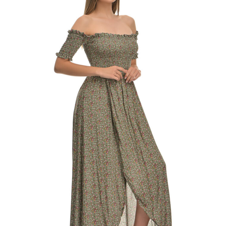 Φόρεμα φλοράλ midi με σφιγγοφωλιά και κοντό μανίκι χακί