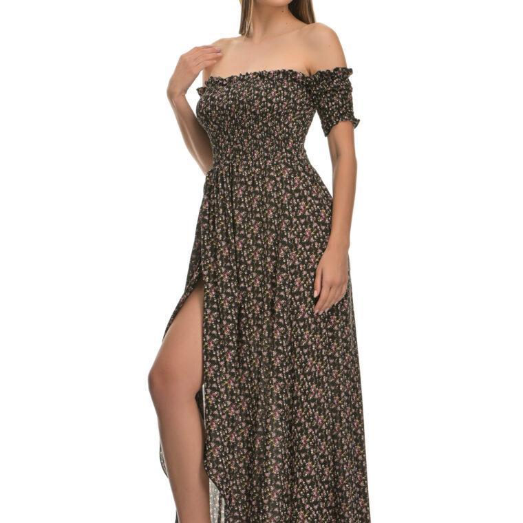 Φόρεμα φλοράλ midi με σφιγγοφωλιά και κοντό μανίκι μαύρο
