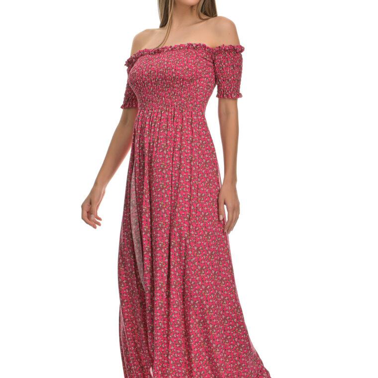 Φόρεμα φλοράλ midi με σφιγγοφωλιά και κοντό μανίκι φούξια