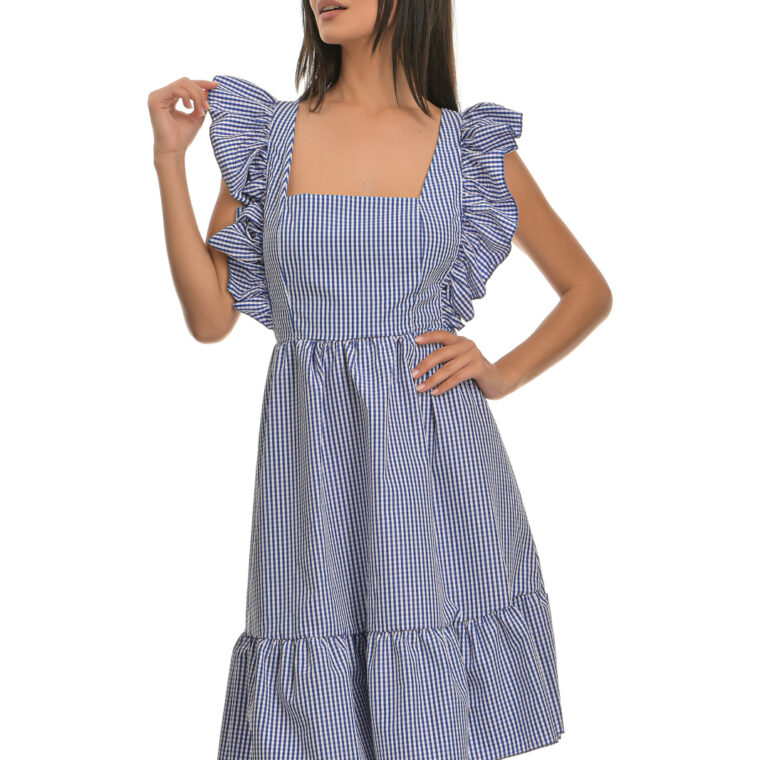 Φόρεμα κοντό καρό με βολάν και δέσιμο στην πλάτη μπλε