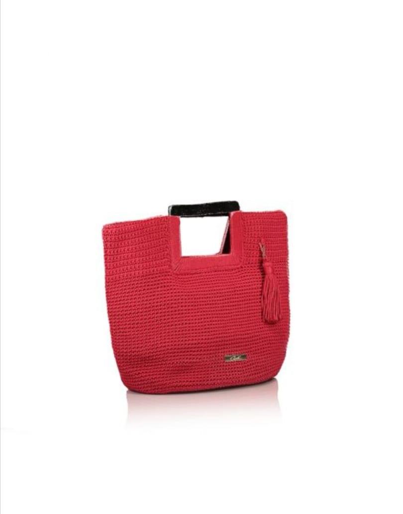 Φούξια τσάντα χειρός πλεκτή axel accesories