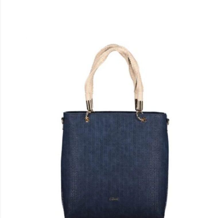 Μπλε τσάντα χειρός/ώμου με ιδιαίτερο χερούλι axel accesories
