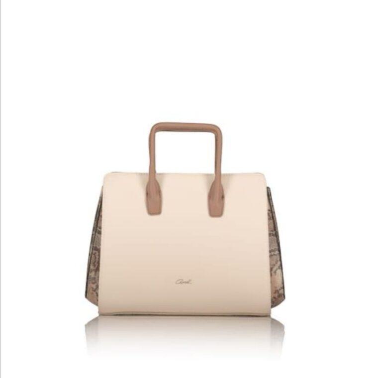 Μπεζ τσάντα χειρός με λεπτομέρεια σχέδιο φίδι axel accesories