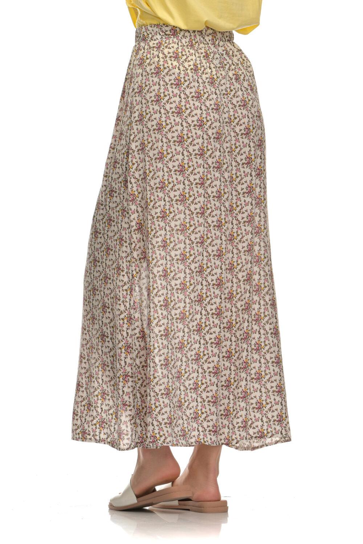 Φούστα φλοράλ μακριά με διακοσμητικά κουμπιά και λάστιχο άσπρο