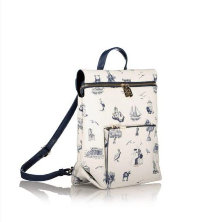 Άσπρο σακίδιο πλάτης με μπλε σχέδια axel accesories