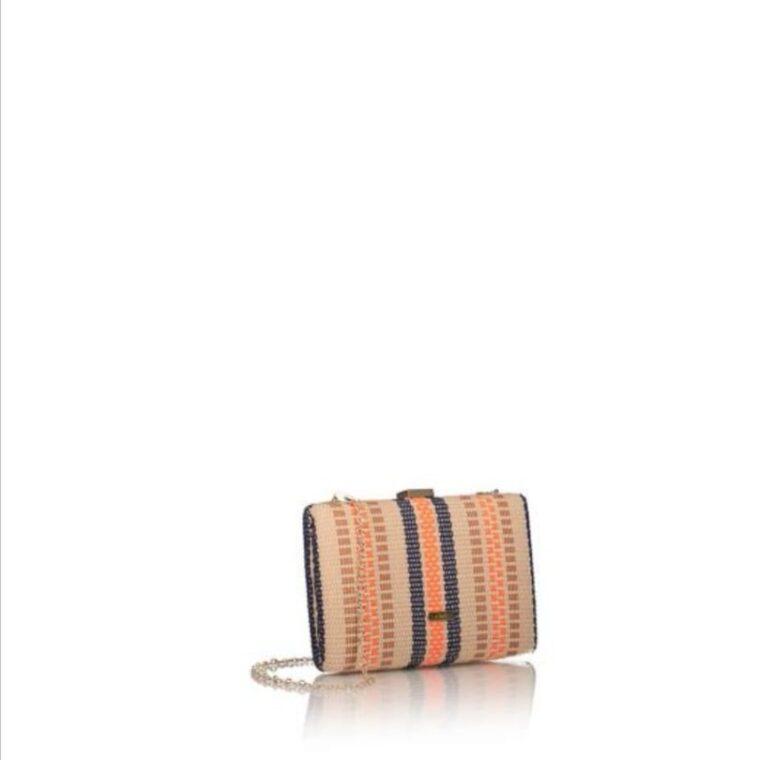 Πολύχρωμο τσαντάκι clutch με υφαντό σχέδιο axel accesorries