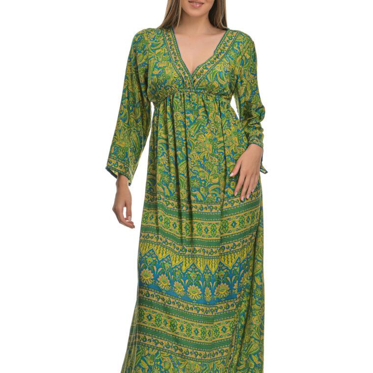 Φόρεμα μακρύ μεταξωτό με μακρύ μανίκι σε πράσινες αποχρώσεις