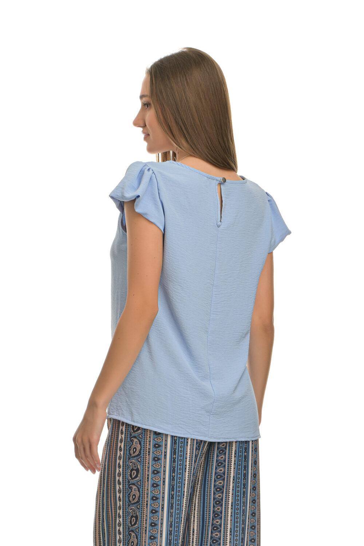 Μπλούζα με μικρό φουσκωτό μανίκι και κολιέ γαλάζιο