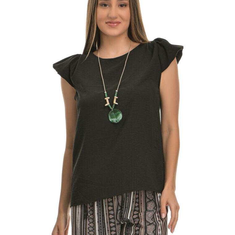 Μπλούζα με μικρό φουσκωτό μανίκι και κολιέ μαύρη