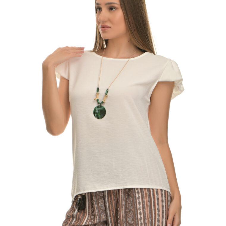 Μπλούζα με μικρό φουσκωτό μανίκι και κολιέ άσπρη