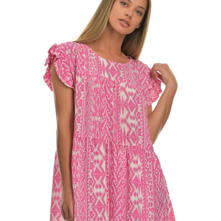 Μπλούζα με ιδιαίτερα σχέδια σε φαρδιά γραμμή ροζ