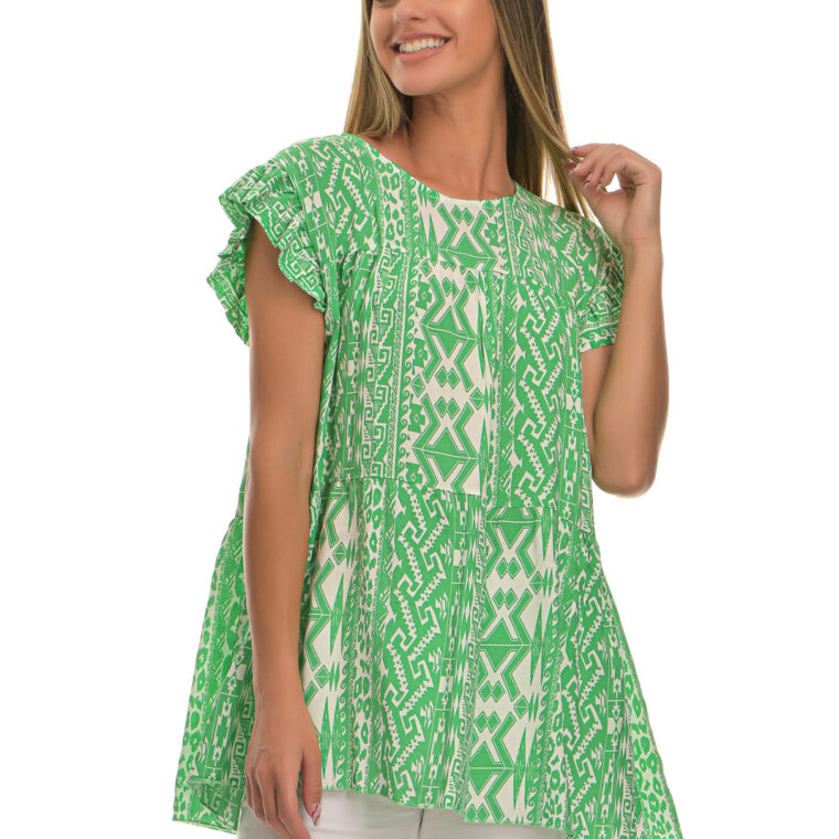 Μπλούζα με ιδιαίτερα σχέδια σε φαρδιά γραμμή πράσινο