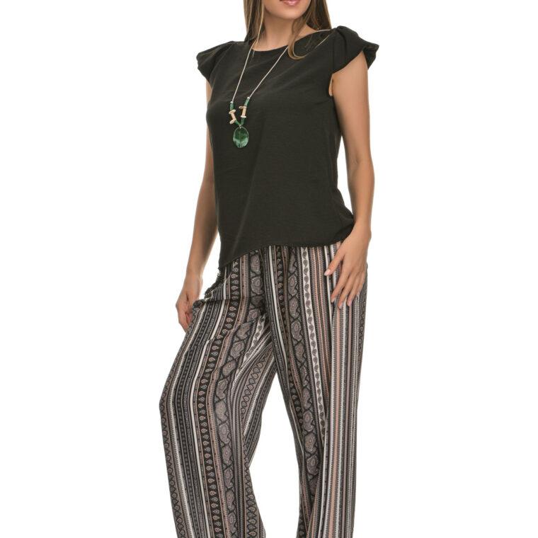 Παντελόνα με σχέδια και μαύρη ζώνη μαύρο