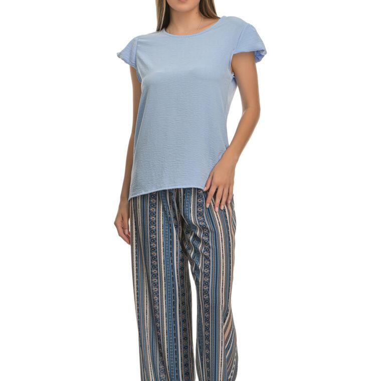 Παντελόνα με σχέδια και μαύρη ζώνη μπλε