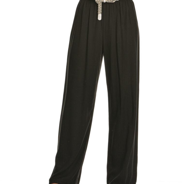 Παντελόνα βαμβακερή με ιδιαίτερη ζώνη μαύρο