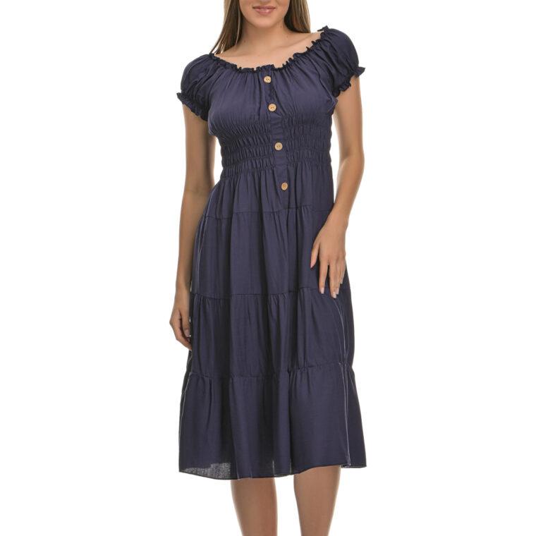 Φόρεμα κοντό με διακοσμητικά κουμπιά μπλε