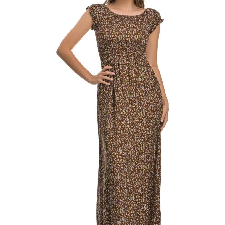 Φόρεμα μακρύ φλοράλ με σφιγγοφωλιά καφέ