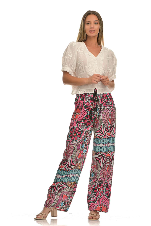 Παντελόνα με σχέδια σε έντονους χρωματισμούς και ζώνη ροζ