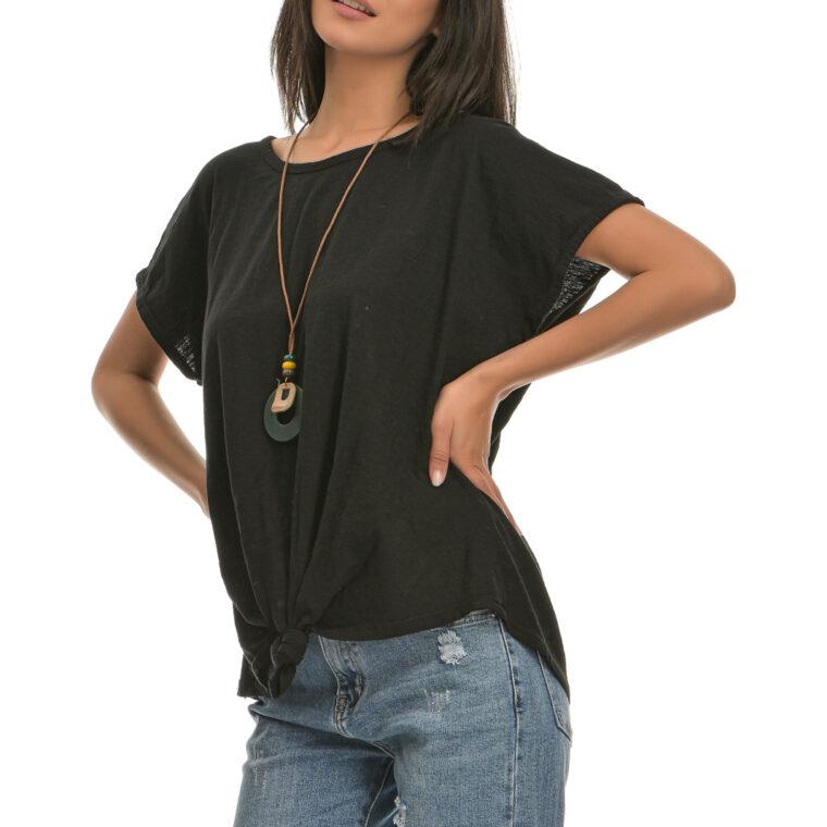 Μπλούζα βαμβακερή με δέσιμο μπροστά και κολιέ μαύρη