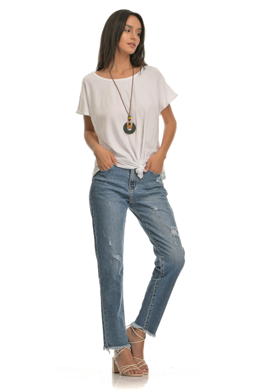 Μπλούζα βαμβακερή με δέσιμο μπροστά και κολιέ άσπρη