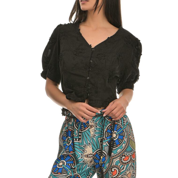 Μπλούζα κοντή με κοντό μανίκι και κουμπιά μαύρη