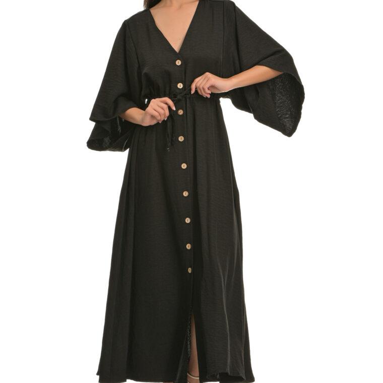 Φόρεμα μακρύ με φαρδύ κοντό μανίκι και κουμπιά μαύρο