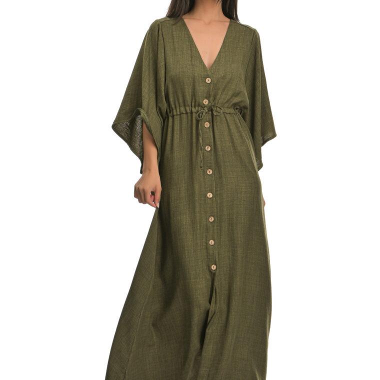 Φόρεμα μακρύ με φαρδύ κοντό μανίκι και κουμπιά χακί