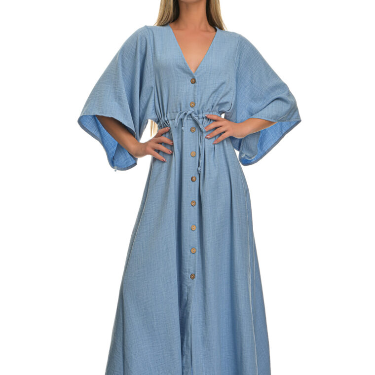 Φόρεμα μακρύ με φαρδύ μακρύ μανίκι και κουμπιά γαλάζιο
