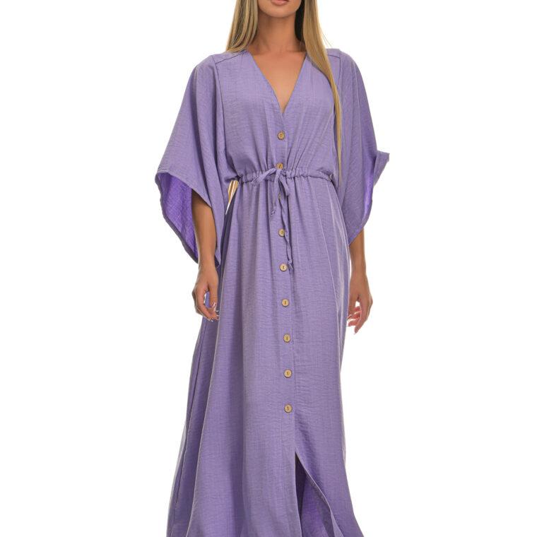 Φόρεμα μακρύ με φαρδύ μακρύ μανίκι και κουμπιά λιλά