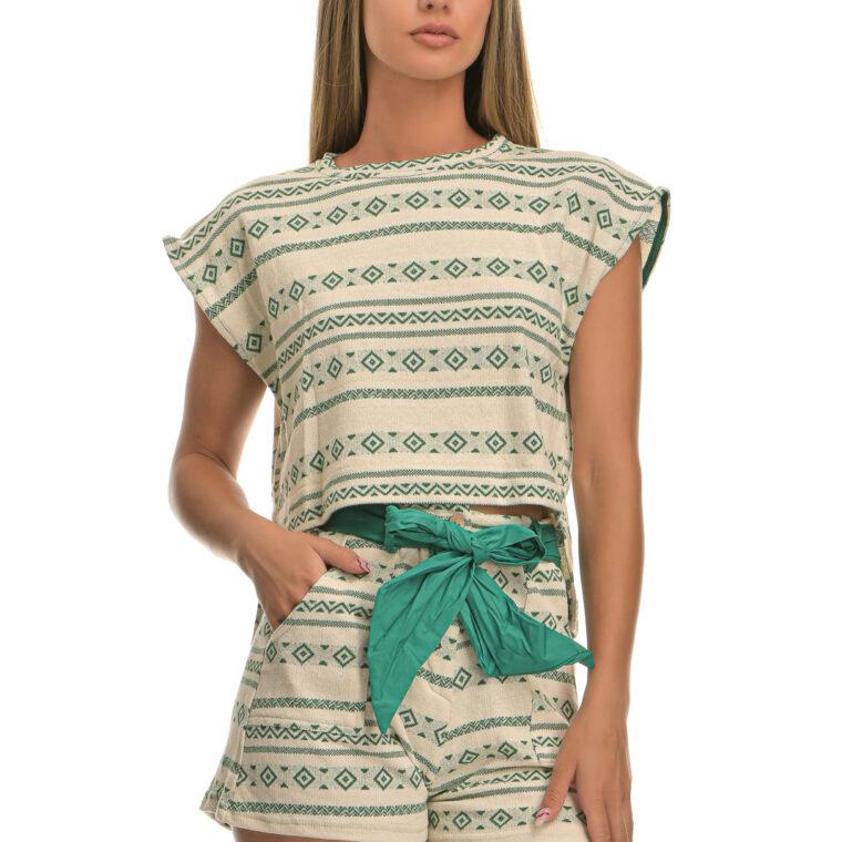 Μπλούζα πλεκτή με γεωμετρικά σχήματα πράσινο