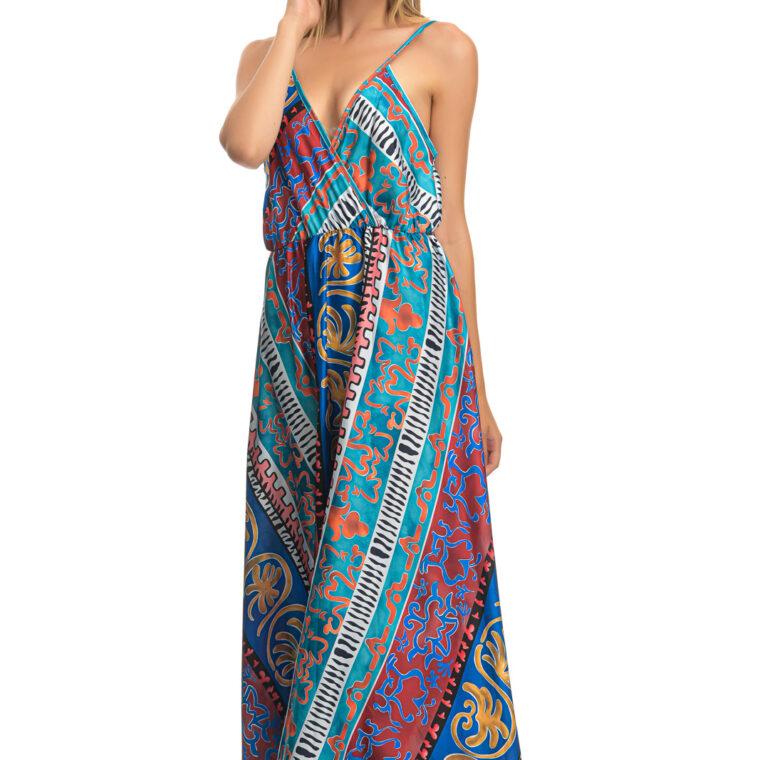 Πολύχρωμο μακρύ φόρεμα κρουαζέ με τραντάκι με διάφορα σχέδια