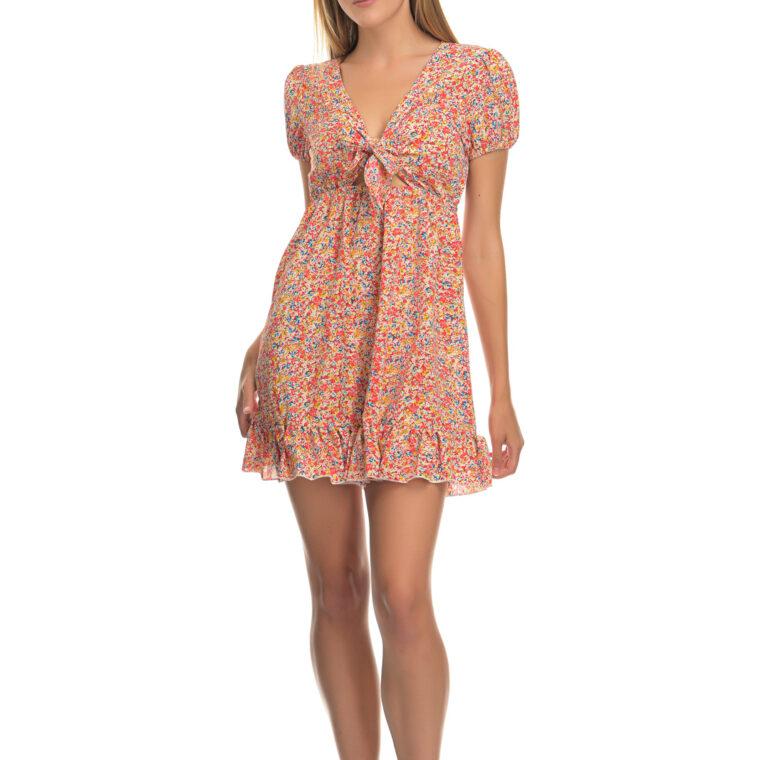 Φόρεμα κοντό φλοράλ με δέσιμο στο στήθος και βολάν στο τελείωμά του
