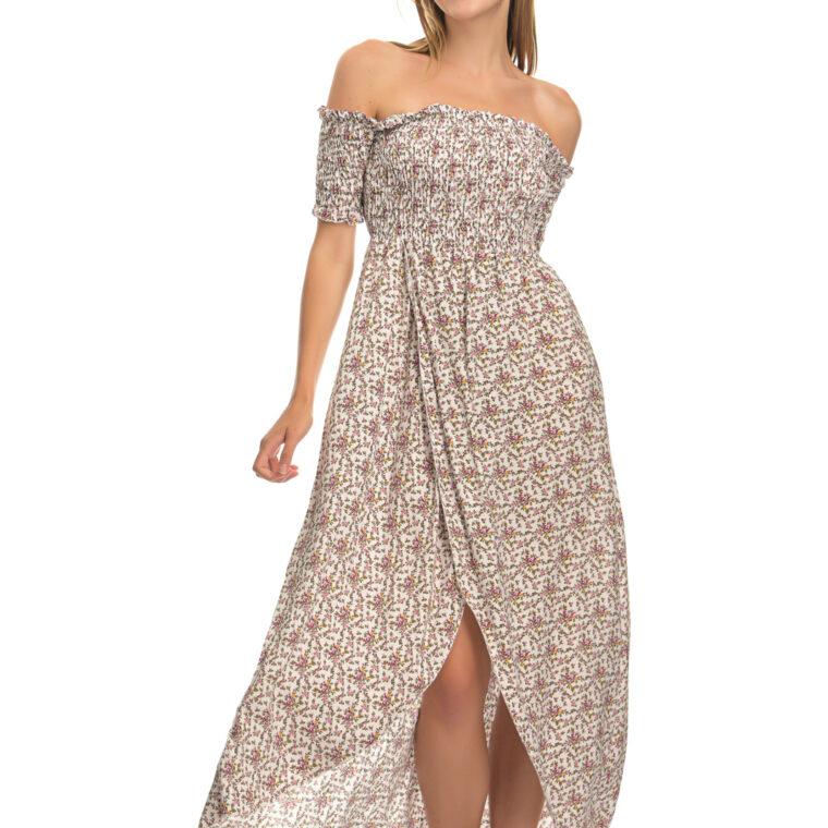 Φόρεμα φλοράλ midi με σφιγγοφωλιά και κοντό μανίκι άσπρο