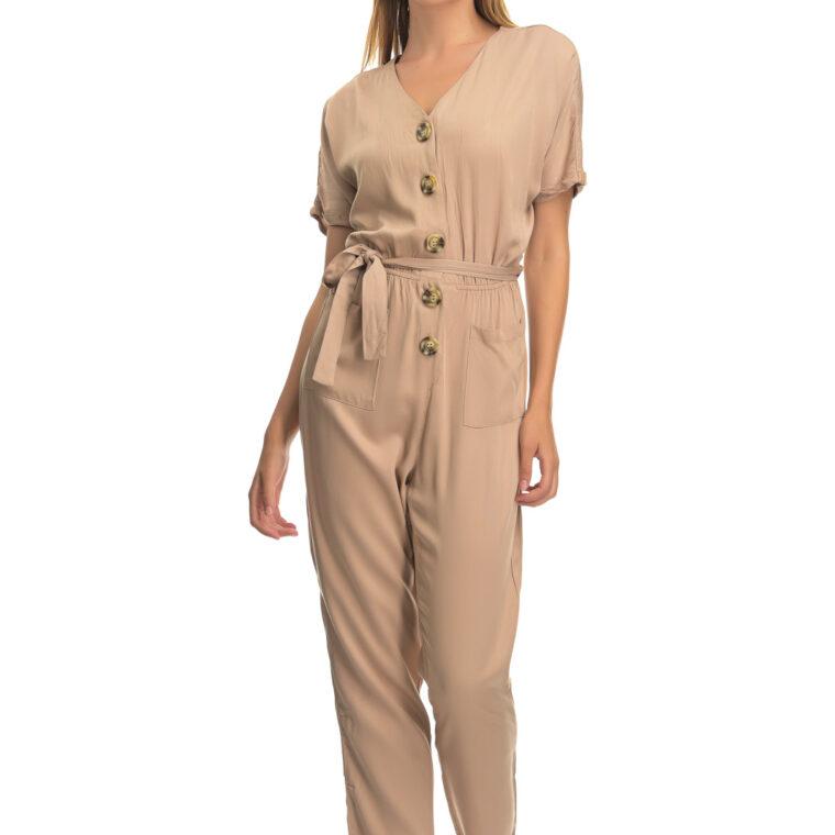 Ολόσωμη φόρμα με κουμπιά,τσέπες και ζώνη μπεζ